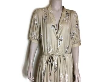 vintage swing dress // cream boho dress // prom dress // 80s prom dress / festival dress / mid length dress / wedding guest dress // boho