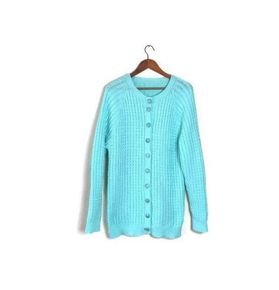 Mint knitted cardigan // green wool cardigan // oversized knitted cardigan // mint sweater // boho cardigans // 80s sweater
