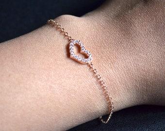 Pink gold heart bracelet zirconium