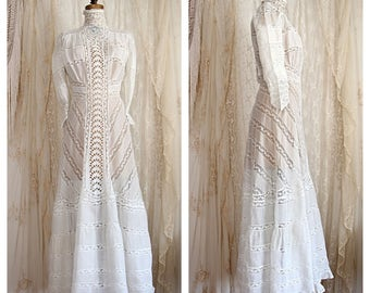 Antique Valenciennes Lace with Cotton Wedding Gown / 1910s / Bridal / Bridesmaid / Victorian Dress / Size Small