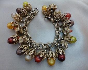 NAPIER Charm Bracelet, Moonglow, Signed, Gold Filigree Work, Cha Cha Cha Bracelet, 60s