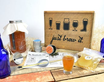 Handcrafted Kombucha Kit for Kombucha Making and Brewing - Comes with Rustic Stenciled Display Box, Bottles, Fermenter, SCOBY, LooseLeaf Tea