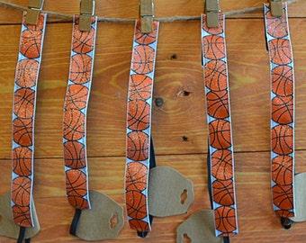 Basketball Ribbon Elastic Headbands Velvet No Slip Girls Teen Sports Orange Sparkly