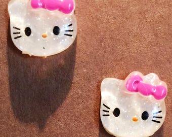 Hello Kitty earrings on nickel free posts.