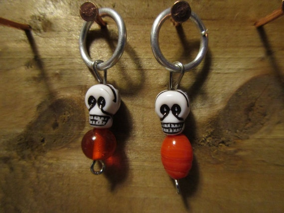 Set of Two Skull Stitch Markers for Knitting
