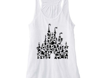 Disney Castle Character Silhouette tank, Disney Fan tank, Disney World tank, Disney tank, Disney Characters tank