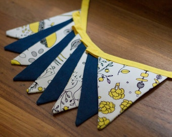 Bunting Flags - White, Grey, Yellow, and Blue