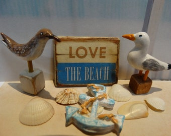 Love the Beach Miniature Wooden Plaque 1:12 scale
