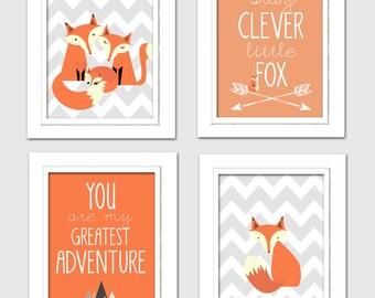 Nursery Quad, Woodland Nursery, Fox Nursery, Set of 4 8X10, Orange, Grey, Stay clever little fox