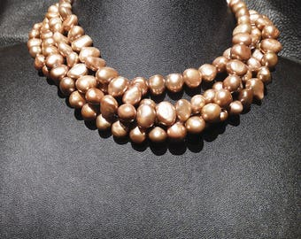 Multistrand Pearl Choker, Rare Bronze Pink Color, Genuine  Freshwater Semi-baroque