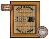 Victorian Barber Shop Goth Sign Printable Set Aged Victorian Fleet St. London Bay Rum on the House Closest Shave in Town No Discrimination