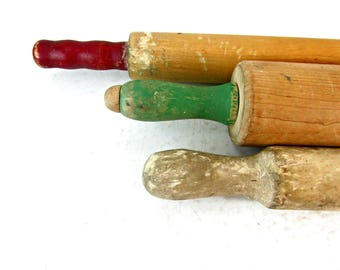 Vintage rolling pin, dough roller, farmhouse decor, kitchen decor, primitive tool, collectible pins, green and red handle, roller, wood tool