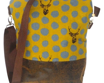 Canvastasche bag cotton faux leather Brown mustard-yellow grey width above 31 cm, height 31 cm, depth 9 cm