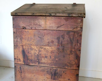 Rustic Wood Cabinet Antique Grain Bin Jersey Coffee