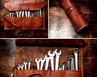 Leather toll roll bag