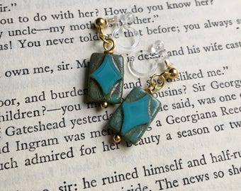 Blue Invisible Clip On Earrings / Bridal Clip Earring / Drop Clipon / Geometric