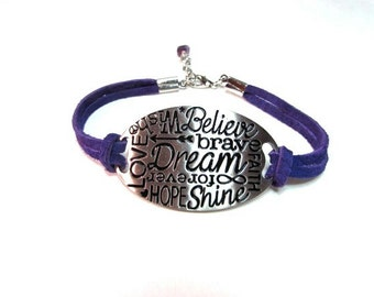 Inspirational, bracelet, purple, women, leather, suede, chain, silver