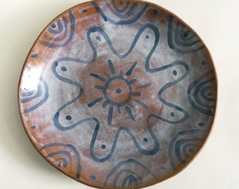 Large Pottery Plate or Shallow Ceramic Bowl