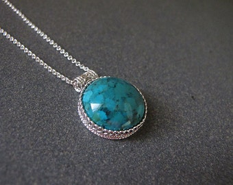 Turquoise necklace,Silver turquoise necklace, Filigree necklace, Silver necklace, Israeli jewelry