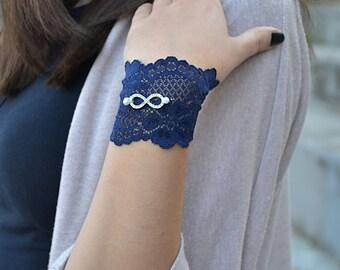 Navy Blue Bracelets, Lace Wristbands, Blue  Wristband,  Lace Bracelets, Blue  Lace  Bracelet,  Bracelets, Womens Bracelet, Bracelet For Girl