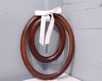 Vintage, Picture Frames, Wall Frames, Hanging, Oval, Wood, Decorative Frames, Rustic, Wedding Photo Frames, Lot of Two, RhymeswithDaughter