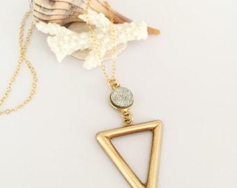 Vintage Brass Triangle Druzy Pendant Layering Druze Drusy Silver