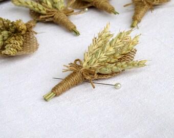 Rustic Wheat Boutonniere Groom Groomsmen Wheat Harvest Summer Autumn Burlap Wedding