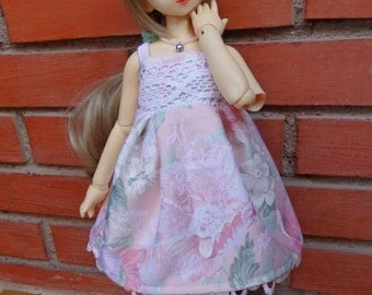 MSD dollfie pink flowers dress with crown