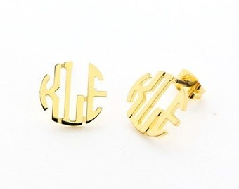 Small Custom Monogram Filigree Gold Plated Cut Out Monogram Earrings