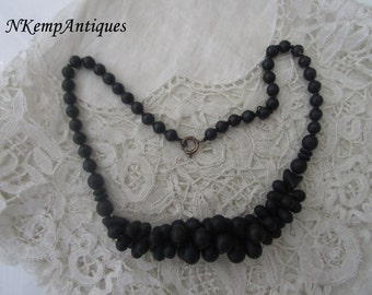 Antique french necklace black glass