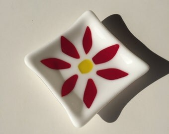 Fused Glass Red Flower Dish