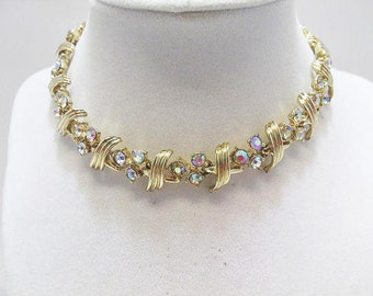 Aurora Borealis Rhinestone Necklace With A Bright Gold Tone Finish / Art Deco Design