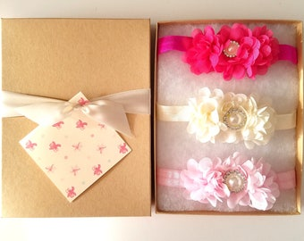 Hot Pink Ivory Light Pink Baby Headband Gift Set with Chiffon Flowers, Flower Girl Headband, Toddler Headband, Baby Shower Gift