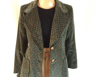 1970's Ditsy Floral Print Velvet Blazer Young Demensions Saks Fifth Ave Sz. M