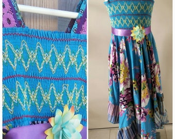 Girls Summer Dress BLUE LOTUS  Handmade OOAK