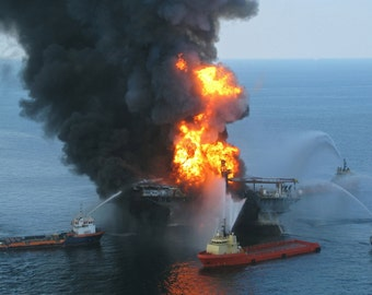 Deepwater Horizon, Oil Rig on Fire, 2010