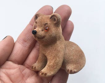 Miniature fuzzy brown bear - little felt animal, cute collectible, woodland creature, autumn or winter display