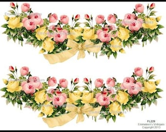 Vintage X-Large Shabby Pink Yellow Roses Swag with Bow Waterslide Decals~ FL229