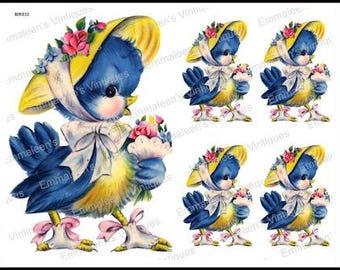Vintage Shabby Retro Lady Bluebird Wearing Floral Bonnet Waterslide Decals~ BIR832