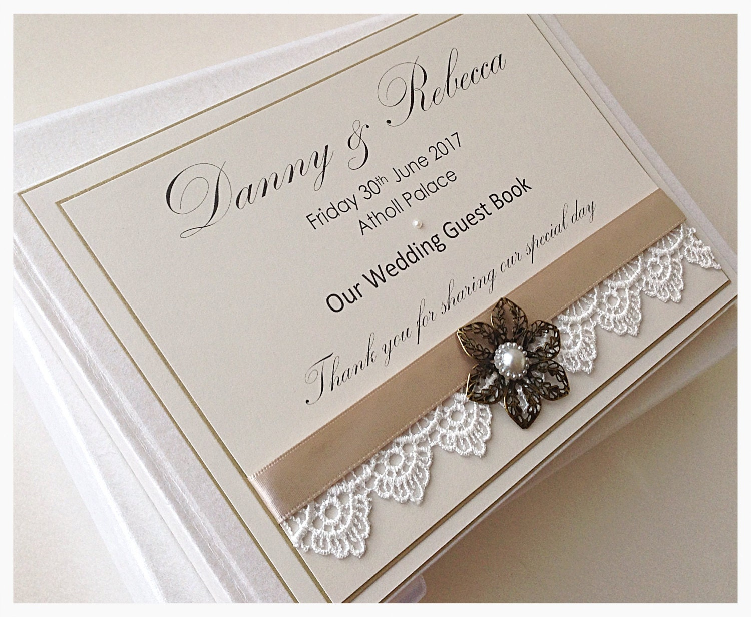 Personalised Wedding Guest Book Card Post Box Antique