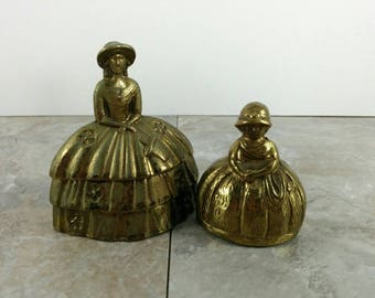 Vintage Early American Brass Woman and Child Wearing Dresses Bells