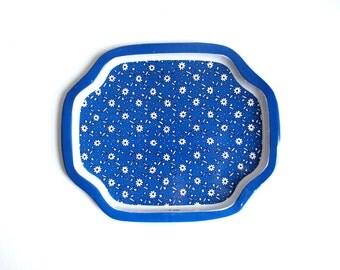 Vintage Tray, Metal Tray, Floral Tray, Small Metal Tray, Blue Tray, Small Tray, Small Blue Tray Trinket Dish Jewelry Tray Key Tray Ring Dish