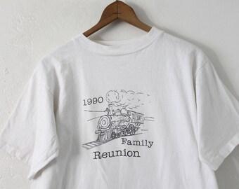 LARGE Vintage 1990 Train Family Reunion Graphic T-Shirt