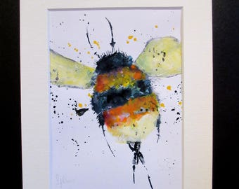 Bumblebee...hand coloured print by Suzanne Patterson. A hand coloured watercolour and pastel print by Suzanne Patterson. A4