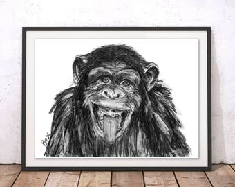 Chimp Art Print Chimpanzee Wall Art Monkey Charcoal Illustration Chimp Print Chimp Gift for New Home Chimp Wall Hanging Art Decor