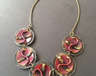Arts and Crafts Mixed Metal Necklace Vintage statement