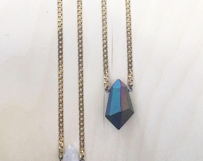 Large Crystal Neckace // Crystal Necklace // Rainbow Quartz Necklace //