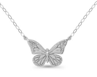 Sterling Silver Butterfly Necklace. adjustable necklace, butterfly necklace