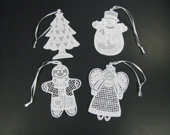 Christmas Freestanding Lace Ornaments - Snowman, Tree, Angel, Gingerbread man