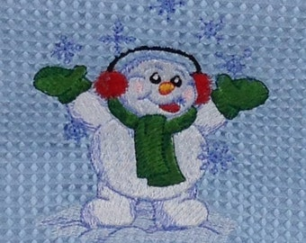Snowman Catching Snowflakes - Hand Towel - Blue